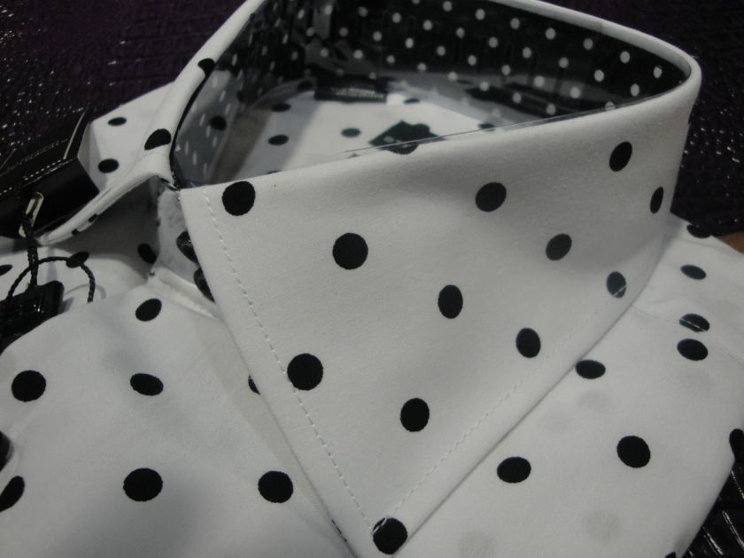 STEVEN LAND CASUAL COTTON SHIRT WHITE BLACK POLKA DOT FRENCH CUFF